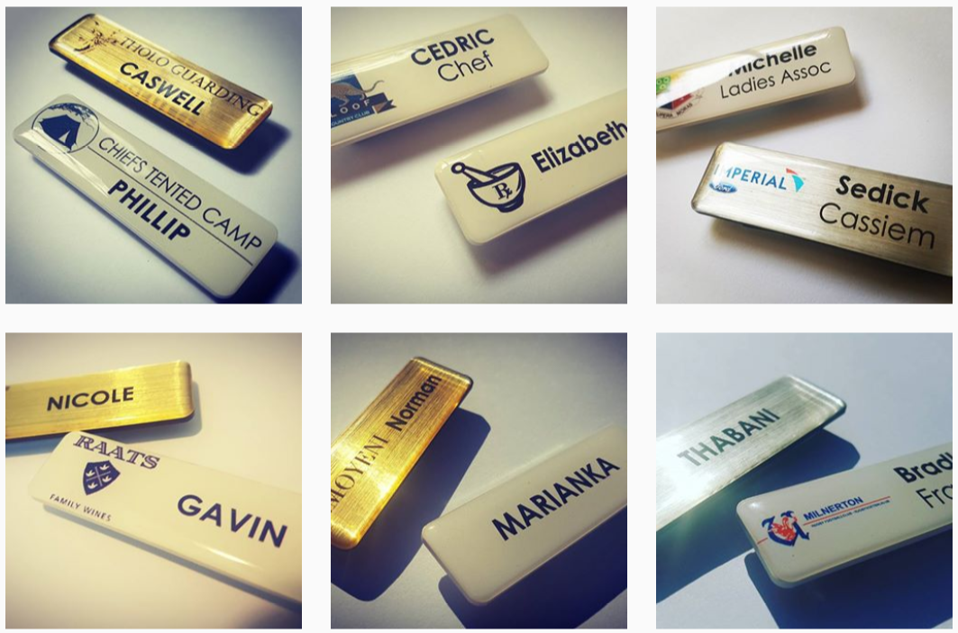 gold name badges